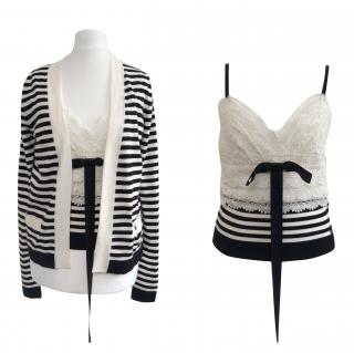 Chanel Black & White Striped Lace Cardigan and Top