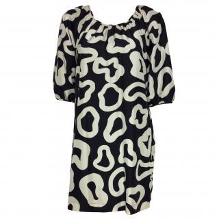 See by Chloe Black & Cream Printed Silk Dress