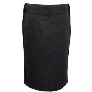 Gucci Black Viscose Silk Pencil Skirt with Velvet Detail