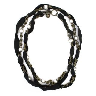 Lanvin Faux Pearl and Black Grosgrain Ribbon Necklace