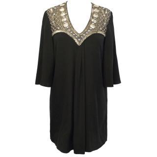Temperley Black Silk Tunic with Gold Embellished Neckline