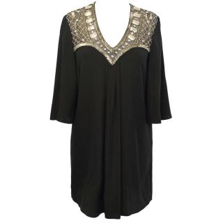Temperley Black Silk Tunic with Gold Embellished Neckline