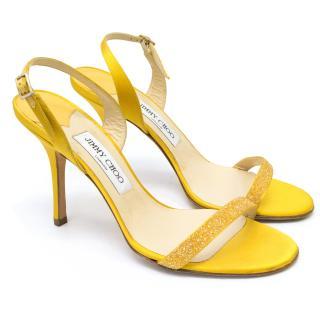 Jimmy Choo Yellow Glitter Heeled Sandals