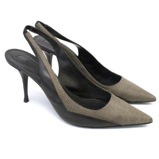 Narciso Rodriguez Taupe and Black Sling Back Kitten Heel