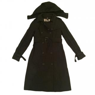 Burberry Long Gabardine hooded trench coat with warmer