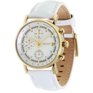 DKNY Gold and White Leather Watch