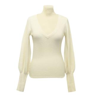Temperley London Cream White Fine Cashmere V-Neck Jumper