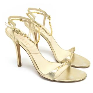 Dior Gold and Crystal Heeled Sandals