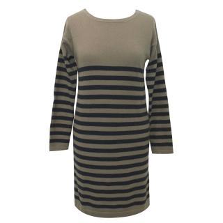 Chinti and Parker London Beige Cashmere Stripy Dress