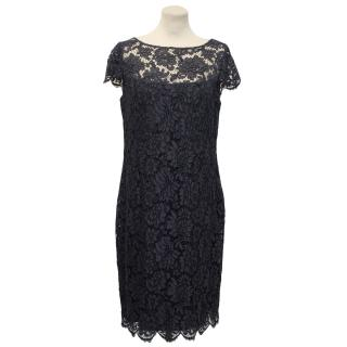 Louise Kennedy Navy Blue  Lace Dress