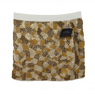 Robert Rodriguez Sequin and bead embellished silk skirt