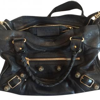 Balenciaga Black Leather Large City Bag with Rose Gold Studs