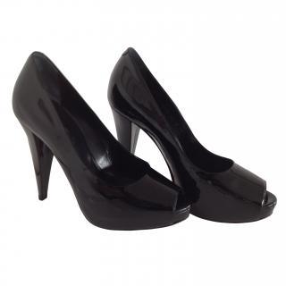 Bally Black Patent Platform Peep-toe Heel