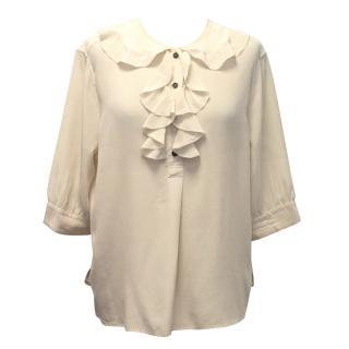 Margaret Howell Cream Silk Ruffle Blouse
