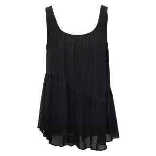 Theory Silk Black Ruffle Tank