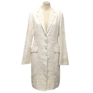 Ermanno Scervino Cream Linen Knee Length Coat With Lace