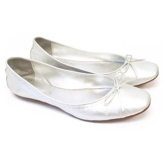 Ash Silver Leather Ballerina Pumps