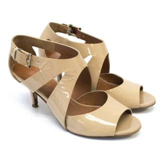 Nude Patent Leather Heel Sandals