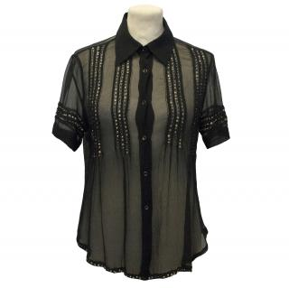 Ermanno Scervino Black Embellished Shirt