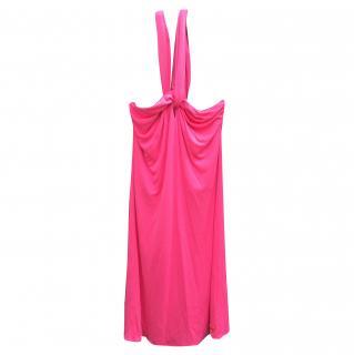 Halston hot pink jersey halterneck dress