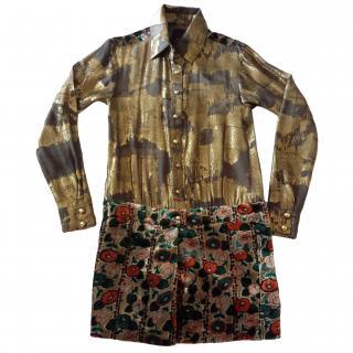Anna Sui gold silk dress