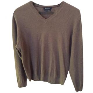 Massimo Dutti Light Brown V Neck Jumper
