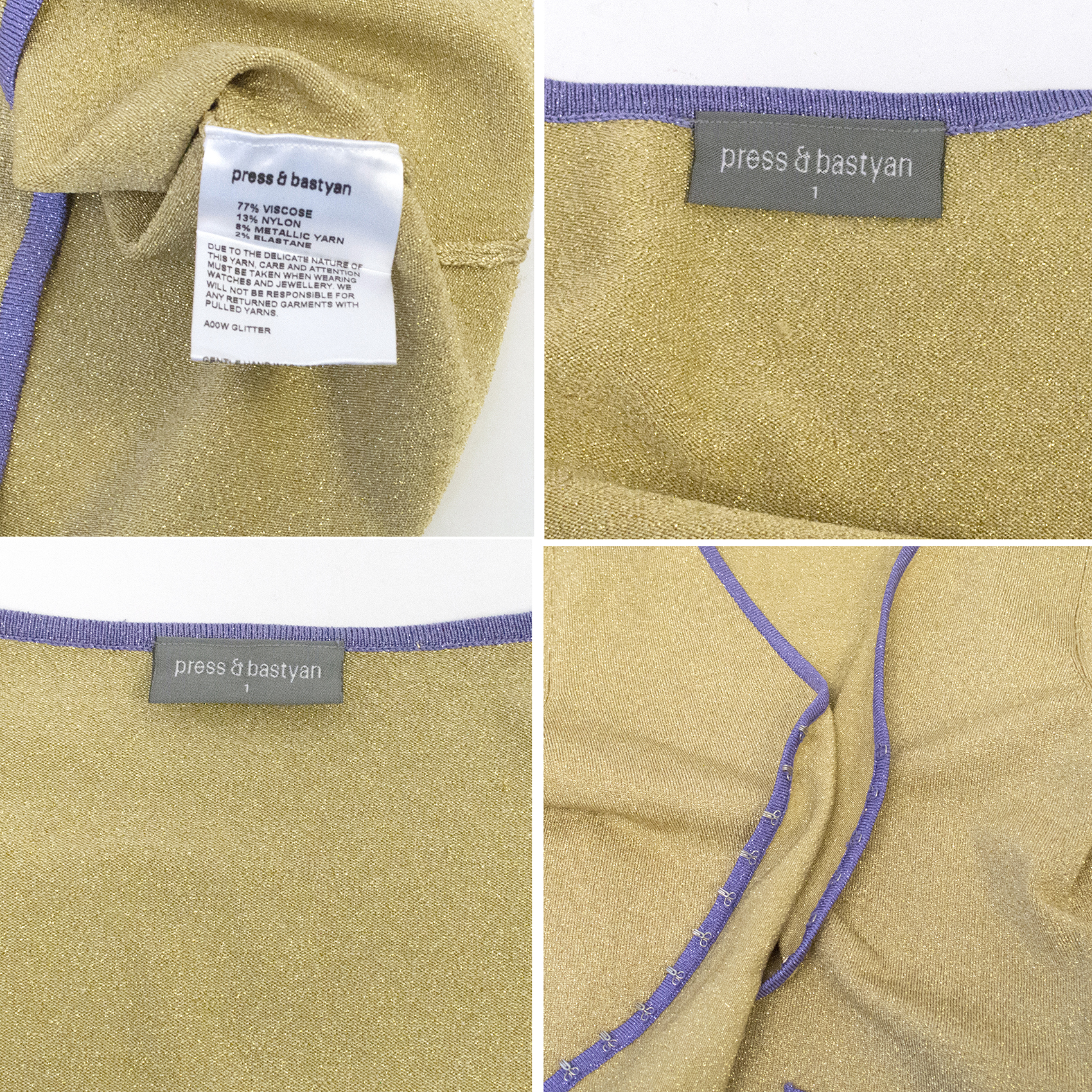 Press Bastyan Gold Lurex Cardigan And Top  c28eef31a6