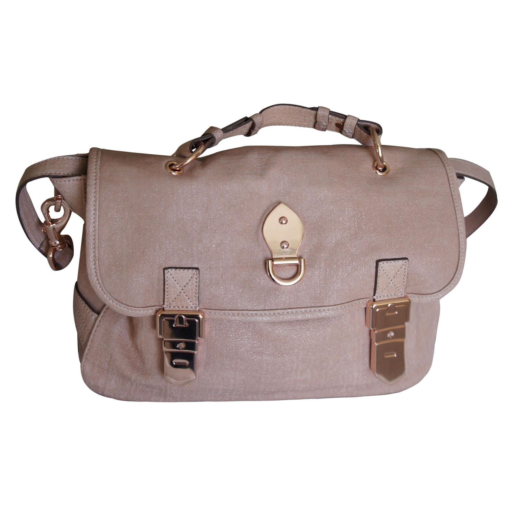 Mulberry Tillie Satchel Bag Powder Beige Sparkle Tweed (Pink) Leather a3c40aa3d2d20