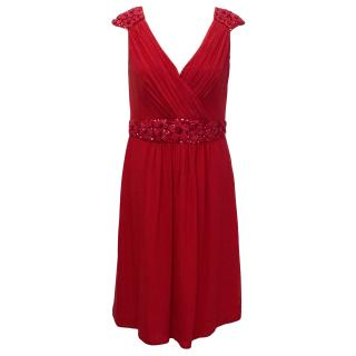Ann Louise Roswald Red Silk Dress