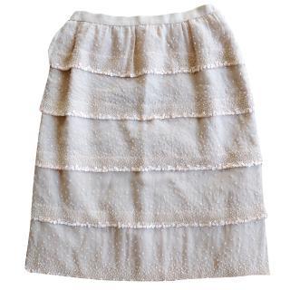 Oscar De La Renta Embellished Silk Skirt