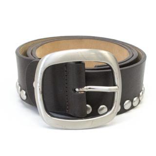 By Malene Birger Brown Studded Leather Belt