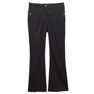 Burberry Black Wool Wide Leg Tailored Trouser