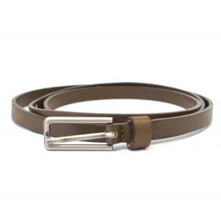Marni Brown Skinny Belt with Matt Silver Buckle