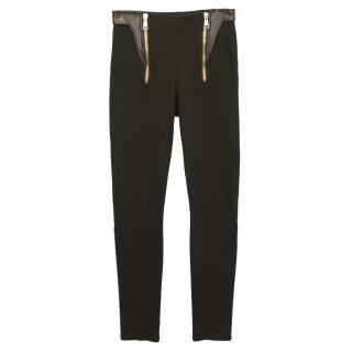 Givenchy Brown Leggings with Leather and Gold Zip Detail