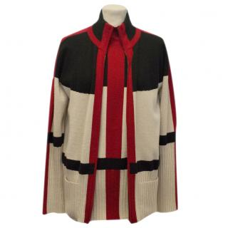 Hermes Red, Black and Cream Geometric Print Cardigan and Top