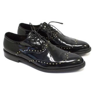 Versace Black Patent Oxford Shoes With Gold Studs