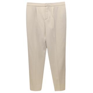 Chloe Light Beige Wool Tailored Trousers