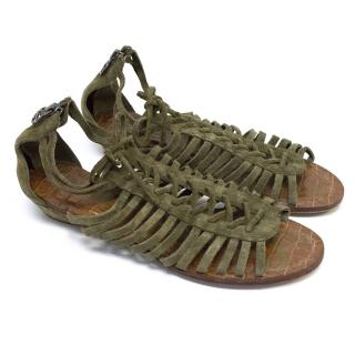 Sam Edelman Camo Green Suede Sandals