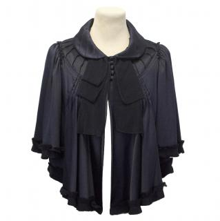 Jill Stuart Navy Cropped Silk Jacket