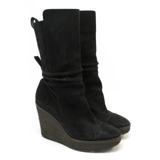 Yves Saint Laurent black suede 'Yda 90' wedge boots