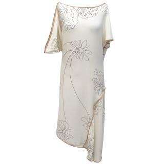 Marni Cream and Black Floral Printed Silk Dress