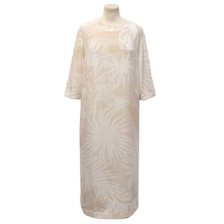 Stella McCartney Nude Plant Printed Silk Dress