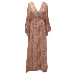 Alice + Olivia Pink and Beige Bandana Printed Silk Maxi Dress