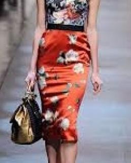 Dolce & Gabbana rose print runway skirt