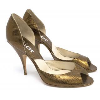 Christian Dior Bronze Leather Snakeskin Effect Peep toe Pumps