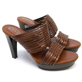 Tod's Brown Leather Perspex Heel Sandals