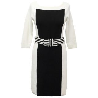 Cream and Black Fitted Mid Sleeve Knit Dress