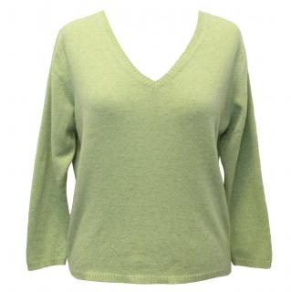 Brora Green V-Neck Cashmere Jumper
