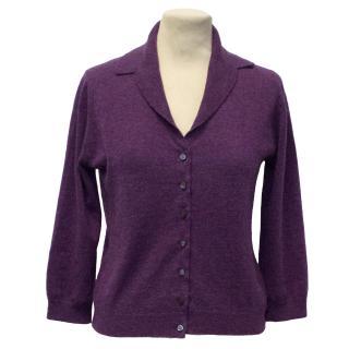 Brora Purple Cashmere Cardigan