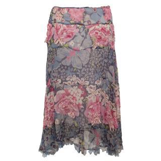 Nicole Farhi Silk Printed Skirt